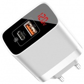 СЗУ Baseus Mirror Lake PPS Digital Display Quick Charger A+C (CCJMHC-A02) White фото