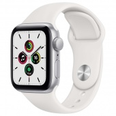Apple Watch SE 44mm Silver Aluminum White Sport Band фото