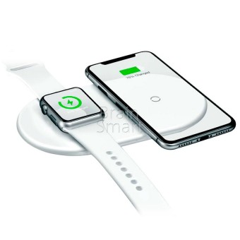 Беспроводное ЗУ Baseus Smart 2in1 BSWC-P19 (WX2INI-02) white фото