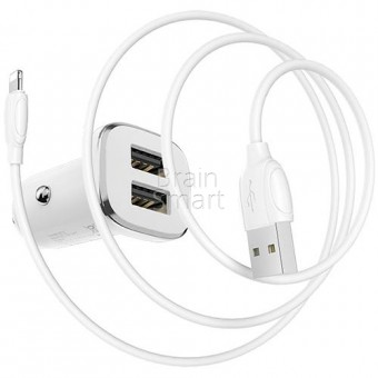 АЗУ Borofone BZ12 Lasting Power 2USB + кабель Lightning (2.4A) White фото