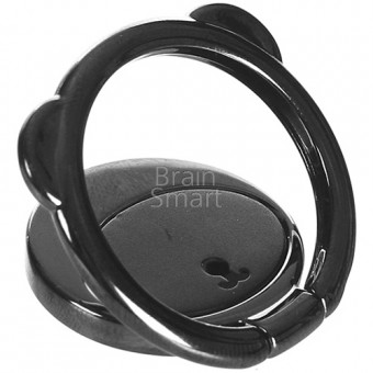Кольцо Baseus Bear Finger Metal Ring Grip Stand Holder (SUBR-01) Black фото